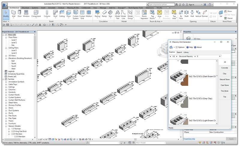 Masonry Unit Generator for Revit Interface